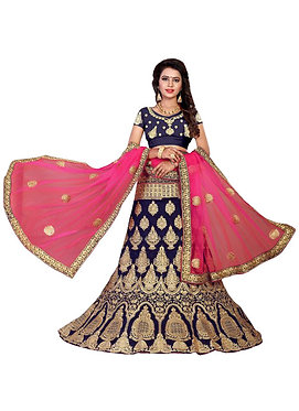 Buy 9000 Silk Navy Blue Embroidered Lehenga Choli