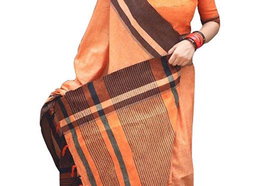 Buy Cotton Silk Orange Replica Saree
