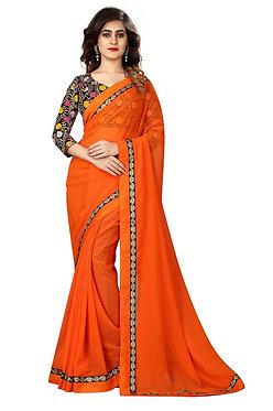 Buy Georgette Orange Replica Saree