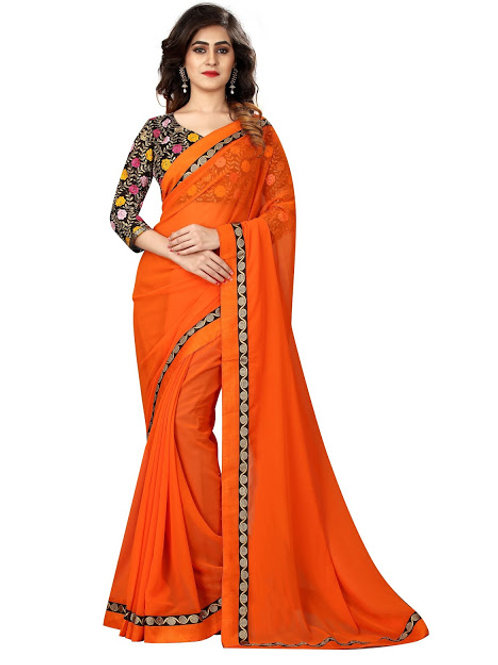 new collection, orange georgette saree, lace work, work blouse, casual wear, party wear, high demanding