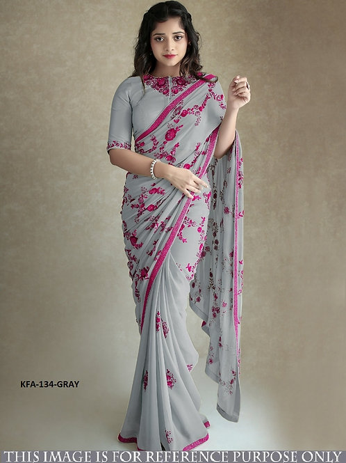 new arrival saree, gray saree, georgette saree, embroidery saree, less work, blouse work, latest collection