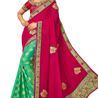 Buy Georgette With Silk Pink And Rama Green Bollywood Replica Saree