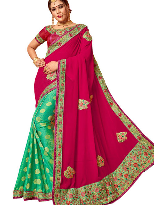 new collection, pink and orange saree, lace work, embroidery work, party wear,designer saree, georgette and silk saree