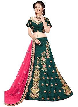 Buy Rama Green 9000 Velvet Embroidered Lehenga Choli