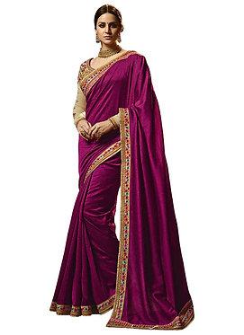 Buy Chiffon Georgette Purple Replica Saree