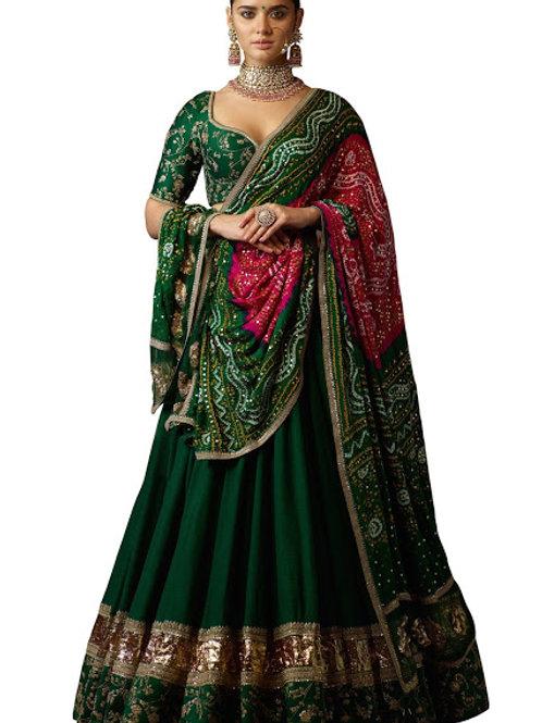 Banglori Silk, Thread Work, Sequence Work,Green, Sequence Work,