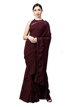 New Georgette Coffee Fancy Replica Saree