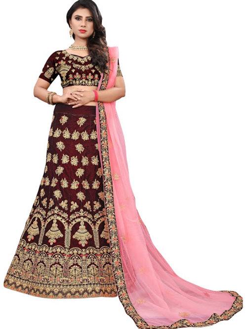 Velvet Lahengha,Blouse,Net Dupatta,Latest,Exclusive,Latest,Exclusive,New, Stylish,Looking good,Bridal,Designer