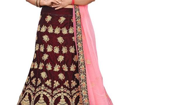 Buy Velvet Maroon Embroidery Heavy Lehenga Choli