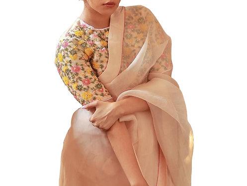 Buy Georgette Cream Plain Bollywood Replica Saree