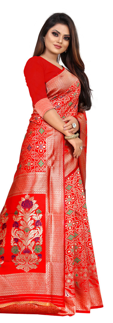 Buy Lichi Silk Red Fancy Replica Saree