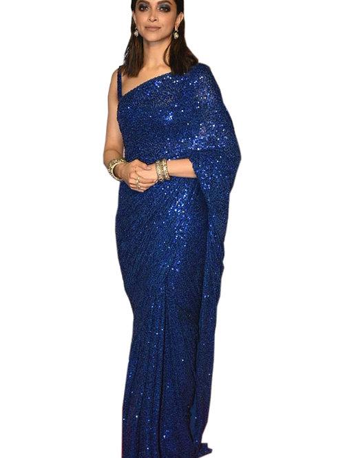party wear saree, blue dipika padukon saree, sequence saree, blue blouse