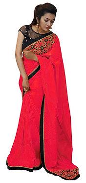 Buy Paper Silk Pink Bollywood Replica Saree