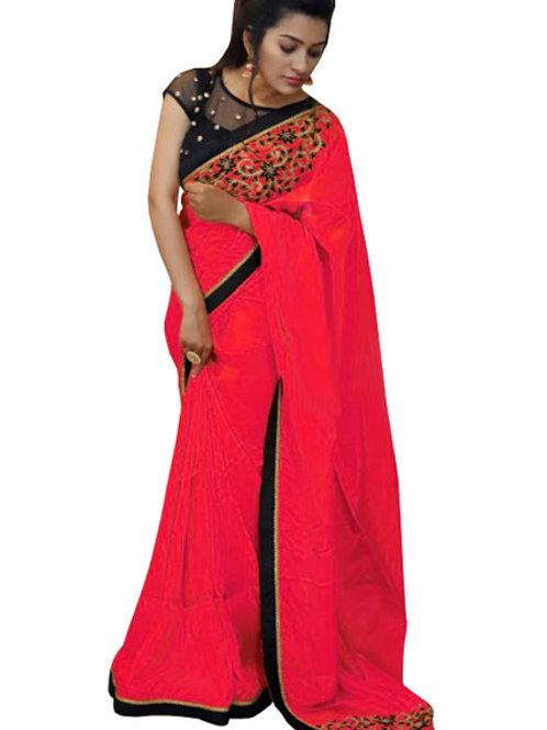 designer saree, red saree, embroidery work saree, lace work saree, black work blouse