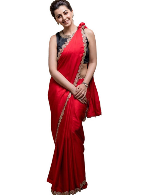 Plain red saree, Hansika replica saree, lace work, black blouse,party wear, hot saree, georgette saree, under 1000