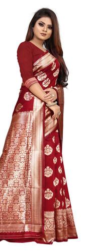 Buy Lichi Silk Maroon Fancy Replica Saree