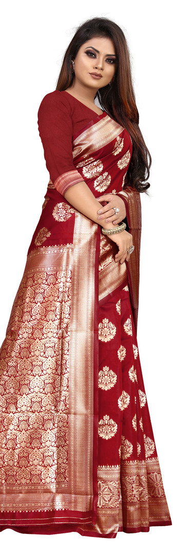 Buy Lichi Silk Maroon Fancy Replica Saree