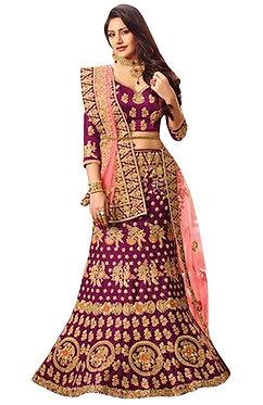 Anika Banglori Silk Purple Replica Lehenga Choli