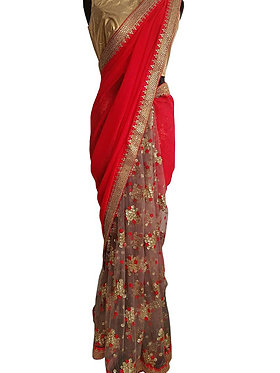 Buy Georgette With Nylon Net Red Replica Saree