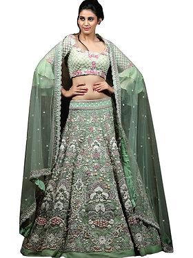 Buy Taffeta Silk Green Replica Lehenga Choli