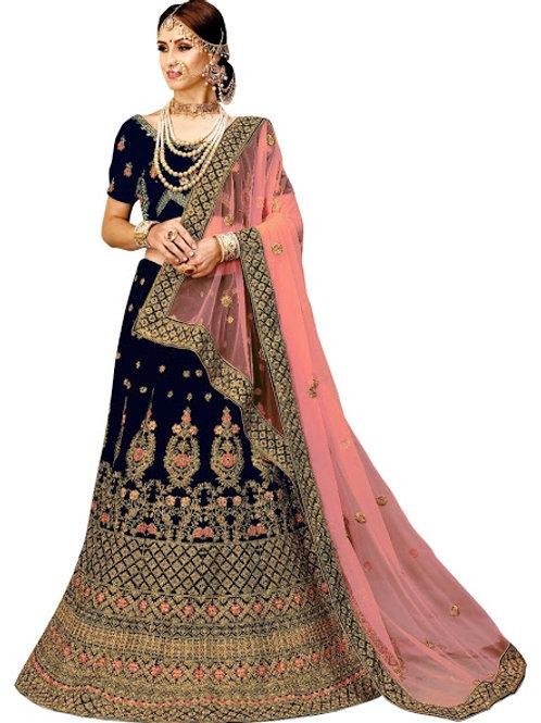 Velvet Blouse, Velvet Lahenga Choli, Net Dupatta, Blue Lahenga Choli, Bridal Lahenga Choli, Exclusive Lahengas, Stylist