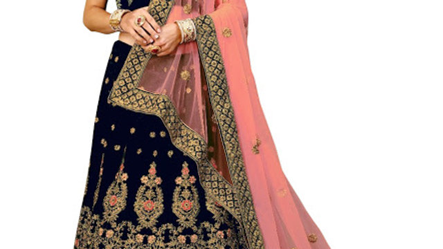 Latest Velvet Navy Blue Heavy Lehenga Choli