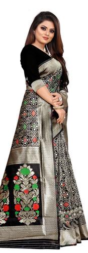 Buy Lichi Silk Black Fancy Replica Saree