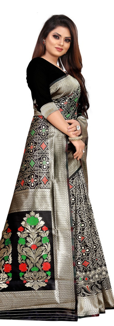Buy Lichi Silk Black Fancy Replica Saree