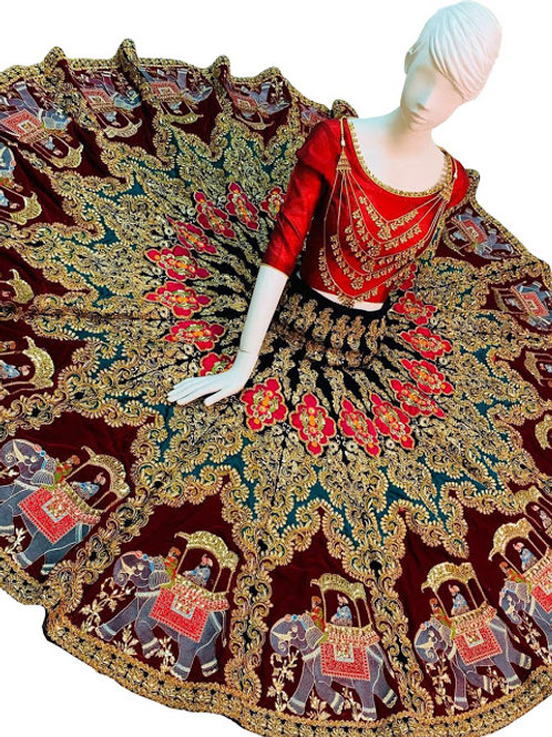 Velvet Lahenga, Silk Blouse, Red Blouse, Thread Work Lahengas, Lahengha Choli,