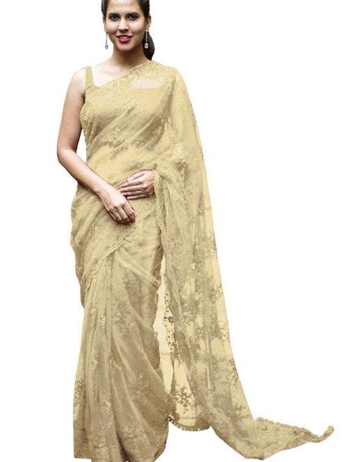 new collection, nylon net saree, cream saree, embroidery work, thread work, party wear, casual saree, plain blouse