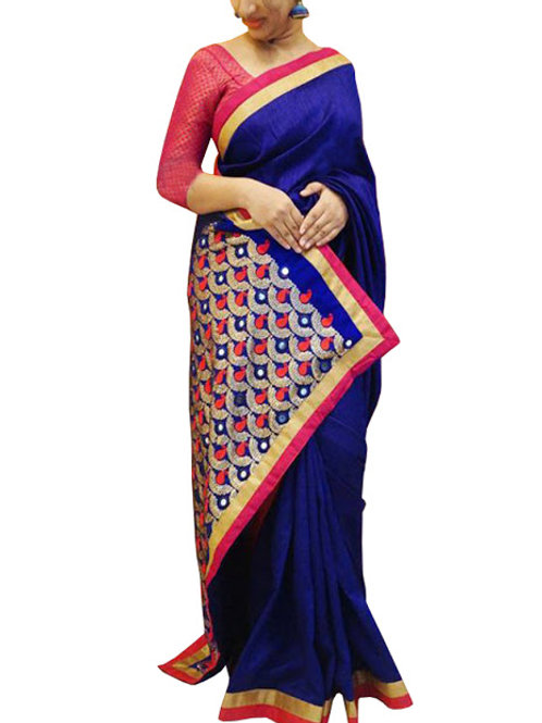 new collection, nylon silk saree, blue saree, pink blouse, embroidery work, lace work, party wear,silk saree