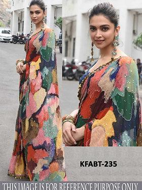 Bollywood Deepika Padukone Georgette Digital Print Saree