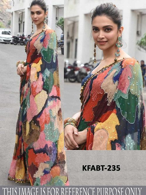 Bollywood replica saree, dipika saree, multi colour saree, georgette saree, digital printed saree, plain blue blouse
