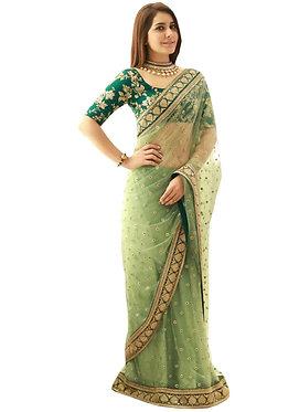 Buy Nylon Mono Net Green Heavy Look Saree