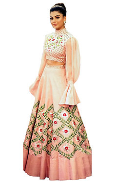 Buy Silk Peach Replica Lehenga Choli