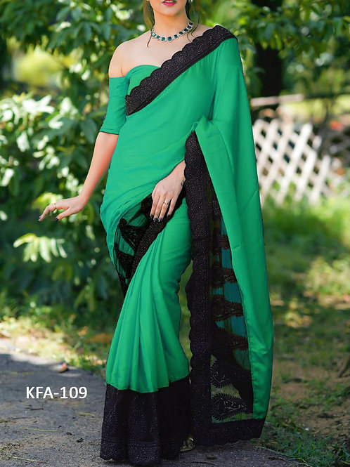 new arrival, ne collection, green plain saree, lace work saree, plain blouse, party saree, dolla silk saree