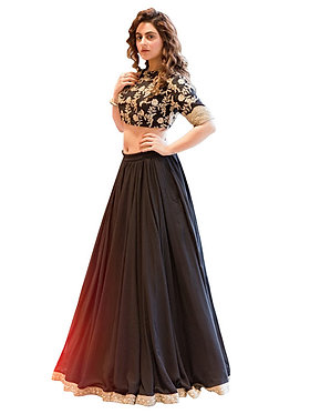 Buy Taffeta Silk Black Replica Lehenga Choli