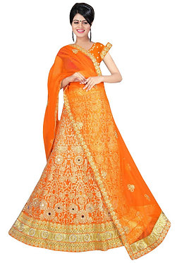 Latest Net Orange Lehenga Choli