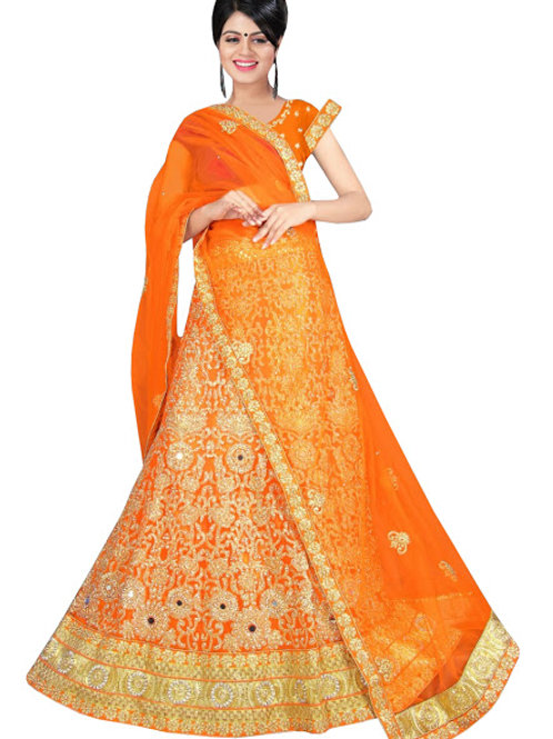 latest collection, orange lehenga choli, embroidery work, high quality, bride collection, under 2000
