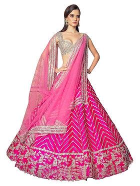 Buy Taffeta Silk Pink Heavy Lehenga Choli