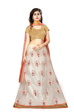 Buy White & Orange Nylon Net Lehenga Choli