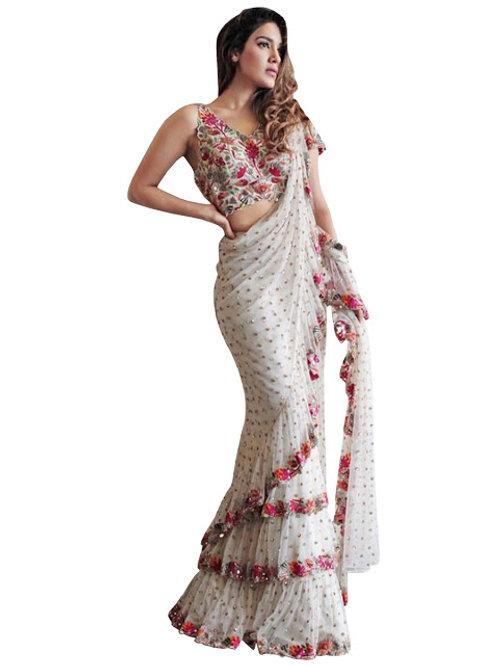 new collection, mono net saree, white saree, embroidery work saree, lace wok saree, heavy work blouse