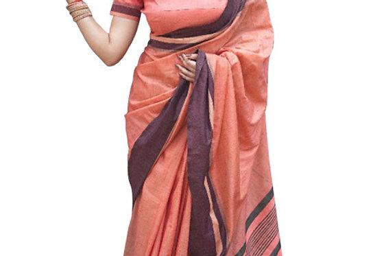 Buy Cotton Silk Peach Replica Saree
