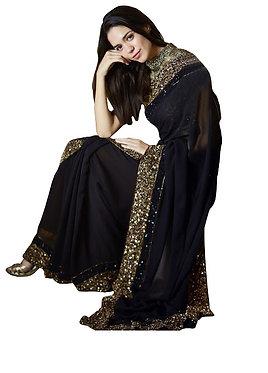 Buy Georgette Silk Black Replica Saree