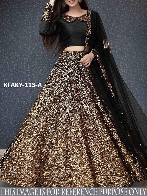 Sequence Work, Velvet , Black , Goldan Purple , Silver , Embroidered Lahenga Choli, Lace Dupatta, Bridal,