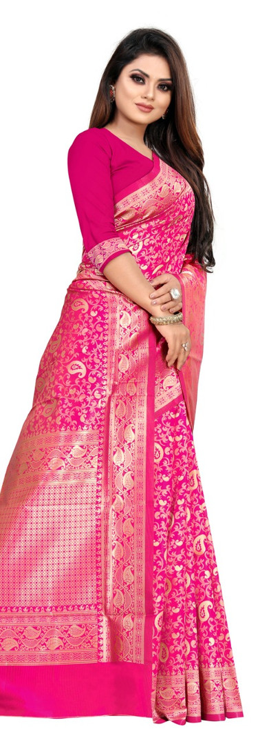 Buy Lichi Silk Pink Fancy Replica Saree