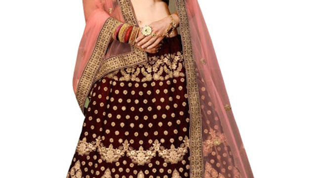 Latest Velvet Maroon Heavy Lehenga Choli