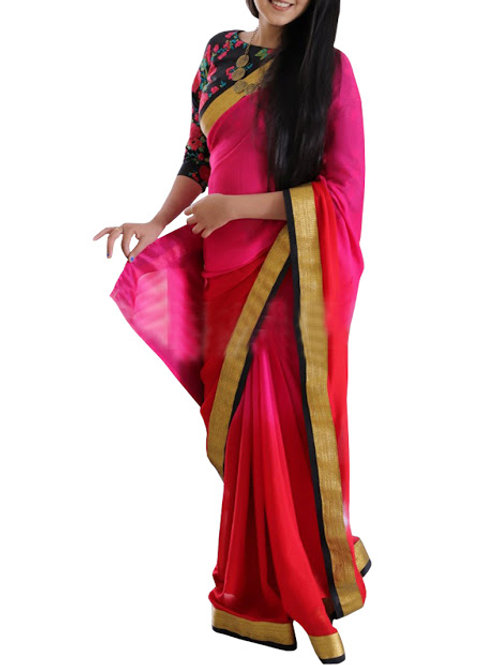 Latest collection, plain pink saree, lace work, printed blouse, casual wear, new arrival, under 1000