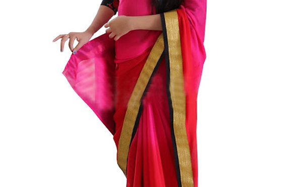 Buy Georgette Pink Replica Saree