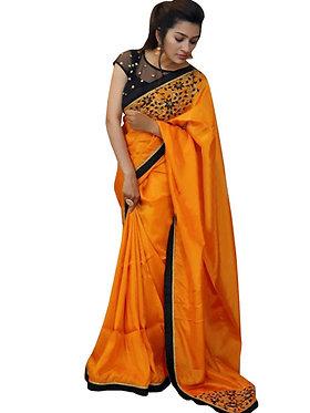 Buy Paper Silk Orange Bollywood Replica Saree